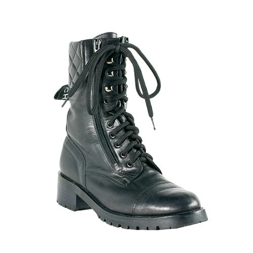 Chanel Sport Ligne Quilted Leather Combat Boots - Size 10/40