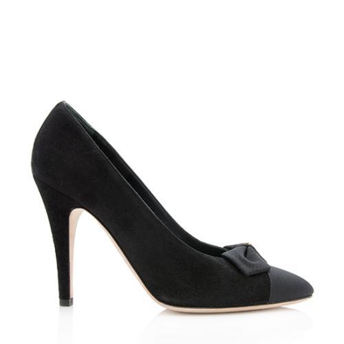 Chanel Suede Grosgrain Bow Cap Toe Pumps - Size 8.5 / 38.5