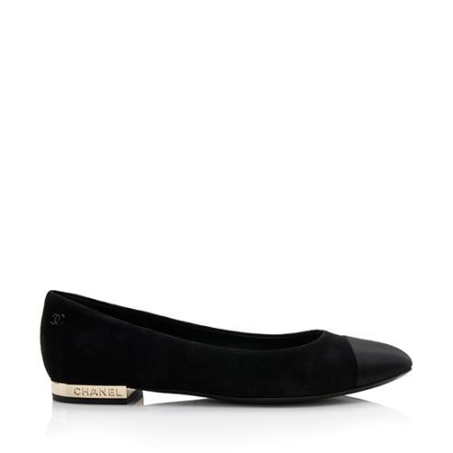 Chanel Suede Satin Cap Toe Ballet Flats - Size 7.5 / 37.5