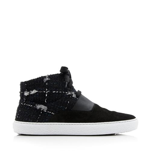 Chanel Suede Tweed High Top Sneakers - Size 11 / 41