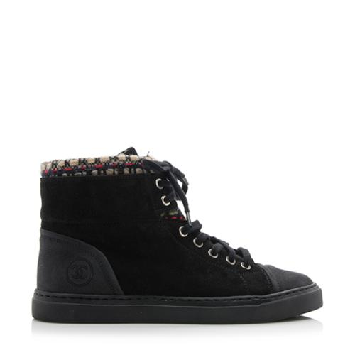 Chanel Suede Tweed High Top Sneakers - Size 8.5 / 38.5