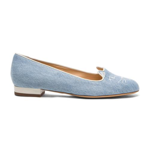 Charlotte Olympia Denim Kitty Flats - Size 7.5 / 38