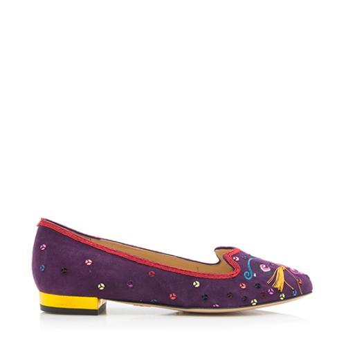 Charlotte Olympia Suede QIQI Flats - Size 6.5 / 37 - FINAL SALE
