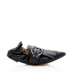 Chloe Leather Buckle Fringe Flats - Size 6.5 / 36.5