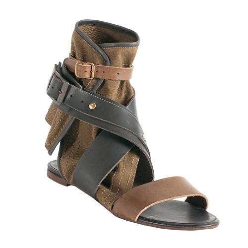 122fe08ecc5 Chloe-Leather-and-Canvas-Gladiator-Sandals --Size-75-375 58758 left angle large 1.jpg