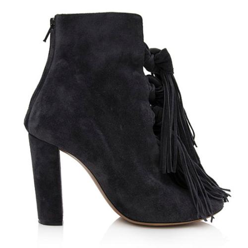 Chloe Suede Fringe Knotted Booties - Size 8.5 / 38.5