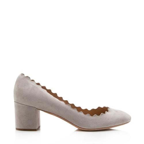 Chloe Suede Scalloped Lauren Pumps - Size 9 / 39