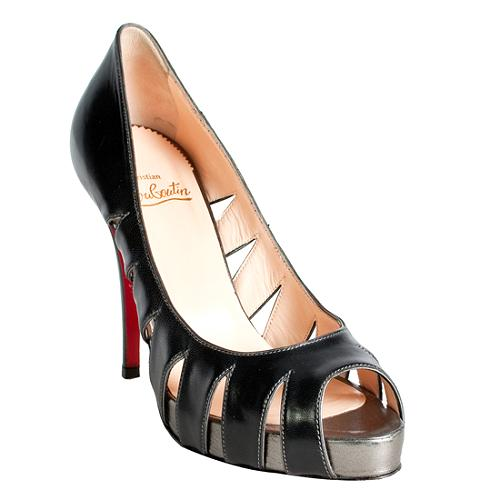 Christian Louboutin Cut-Out Peep Toe Pump Shoes - Size 8