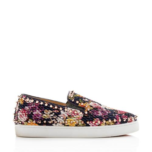 Christian Louboutin Floral Spiked Pik Boat Sneakers - Size 8 / 38