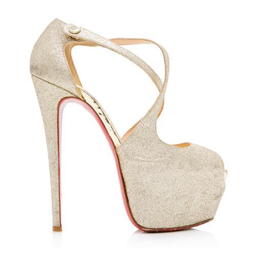 Christian Louboutin Glitter Exagona Platform Peep Toe Sandals - Size 8 / 38 - FI