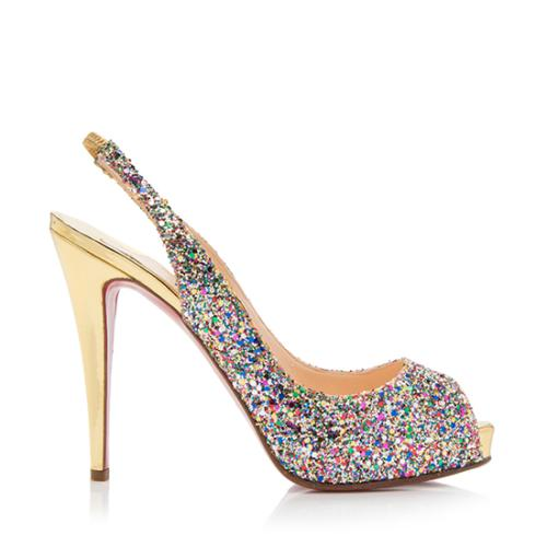 reputable site 3390f a7f80 Christian Louboutin Glitter No Prive Slingback Pumps - Size 10 / 40