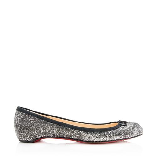 Christian Louboutin Glitter Sonietta Flats - Size 9 / 39