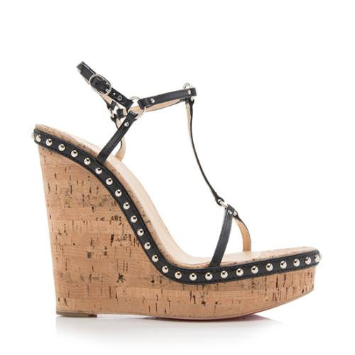 Christian Louboutin Leather Jamie Lee Studded Wedges Size 9 39