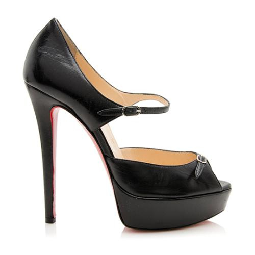 Christian Louboutin Leather Mary Jane Peep Toe Pumps - Size 6 / 36