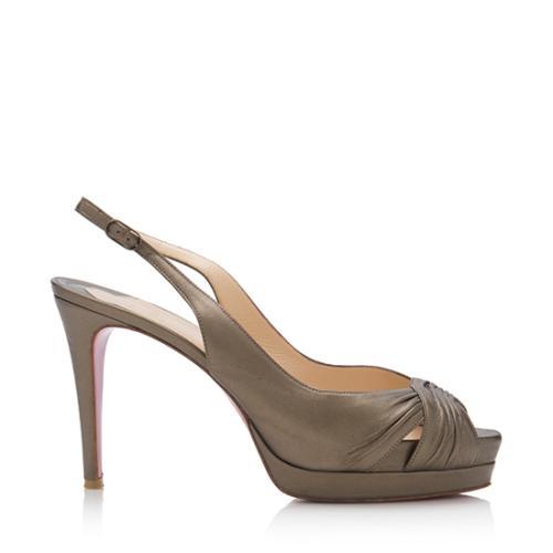 Christian Louboutin Metallic Ecoplus Slingback Sandals - Size 9   39 2acea40ef704