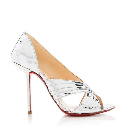 Christian Louboutin Metallic Leather Drapa Notta Sandals - Size 8.5 / 38.5