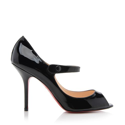 premium selection c1a78 b3191 Christian Louboutin Patent Leather Iowa Zeppa Mary Jane Pumps - Size 8 / 38