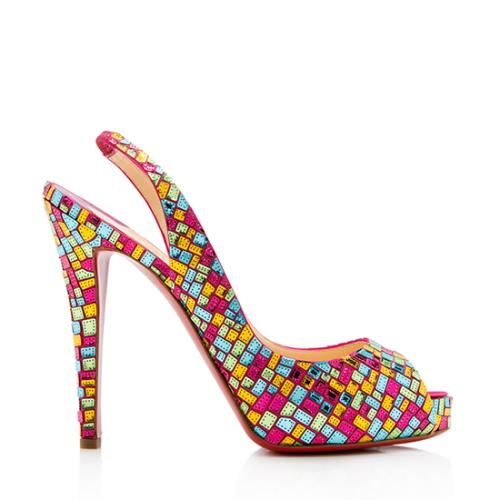 Christian Louboutin Satin No Prive Mosaic Slingback Pumps - Size 10 / 40