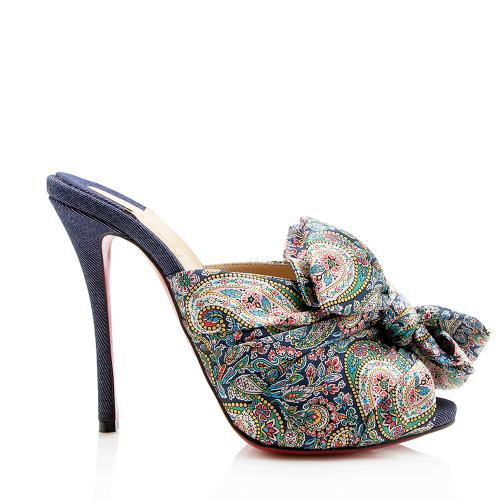 Christian Louboutin Satin Paisley Denim Moniquissima Mules - Size 7.5 / 37.5