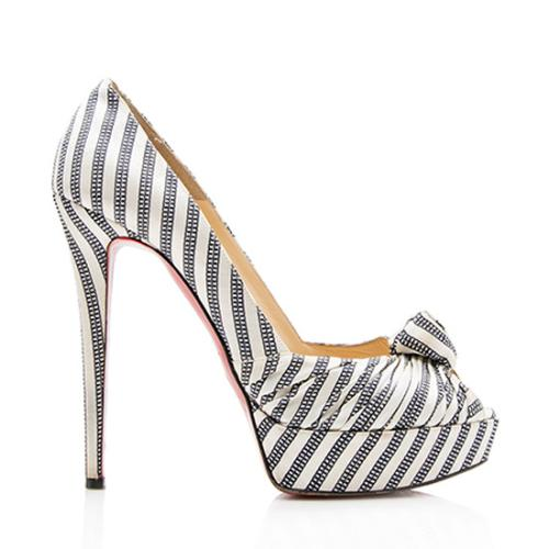 Christian Louboutin Striped Satin Greissimo Platform Pumps - Size 9.5 / 39.5