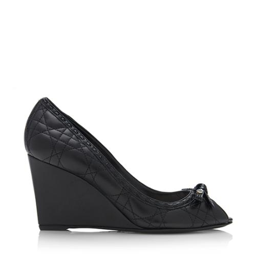 Dior Lambskin Cannage Bow Wedges - Size 9 / 39