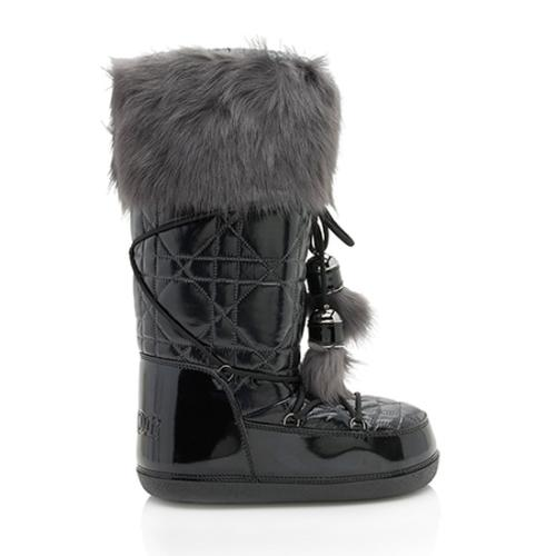 Dior Patent Leather Fur Snow Boot - Size 8 / 38