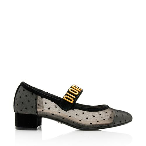 Dior Suede Dotted Swiss Baby-D Ballet Pumps - Size 7 / 37