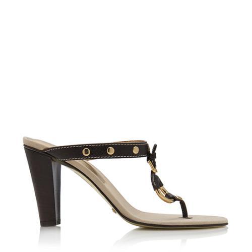 Dolce & Gabbana Canvas Stud Thong Sandals - Size 7 / 37.5 - FINAL SALE