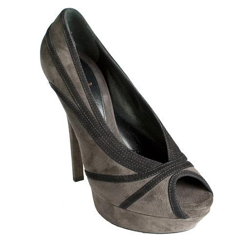 Fendi Grey Suede Jardin Celebrity Platform Pumps - Size 11 / 41