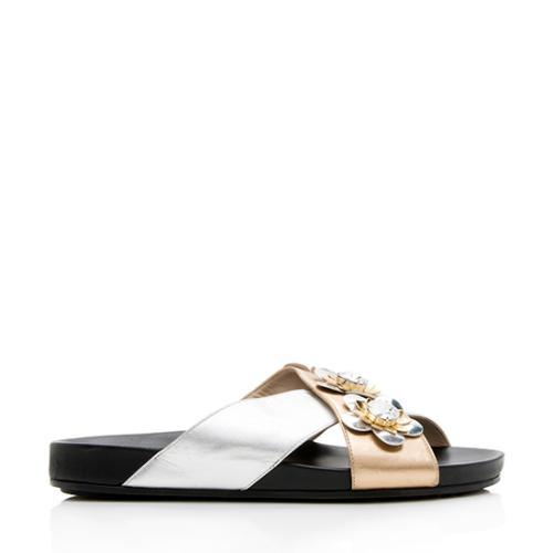 Fendi Metallic Leather Flowerland Slide Sandals - Size 8 / 38