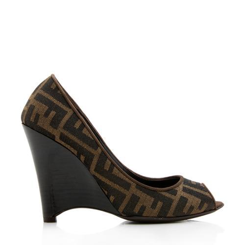 Fendi Zucca Peep Toe Wedges - Size 6 / 36