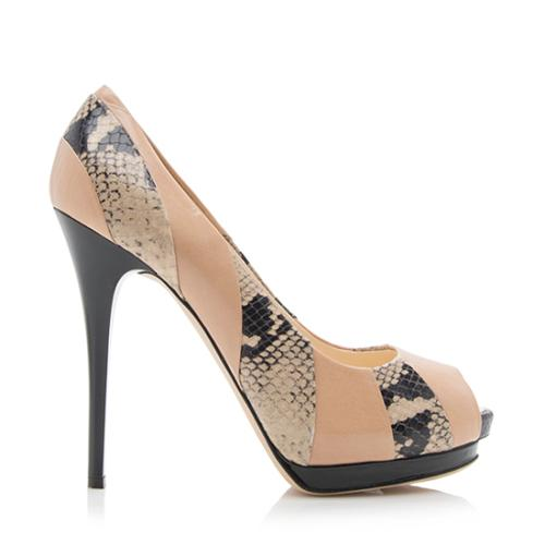 Giuseppe Zanotti Leather Snakeskin Peep Toe Pumps - Size 9 / 39