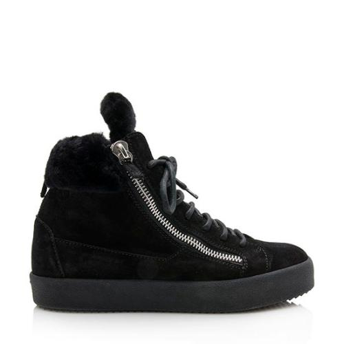 Giussepe Zannoti Suede Shearling Sneakers - Size 8.5 / 38.5