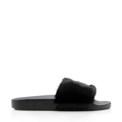 Givenchy Fur Strap Slide Sandals - Size 7 / 37