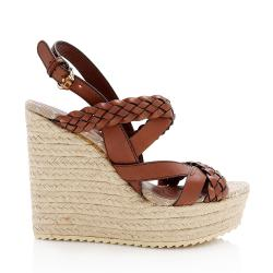 Gucci Braided Leather Espadrille Wedge Sandals - Size 6 / 36