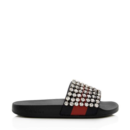 Gucci Calfskin Crystal Web Slide Sandals - Size 6 / 36
