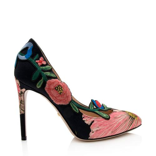 Gucci Embroidered Canvas Ophelia Pumps - Size 6 / 36