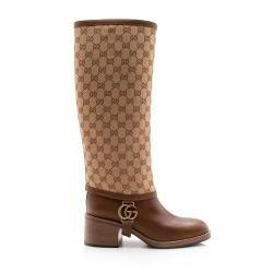 Gucci GG Canvas Lola Riding Boots - Size 10 / 40
