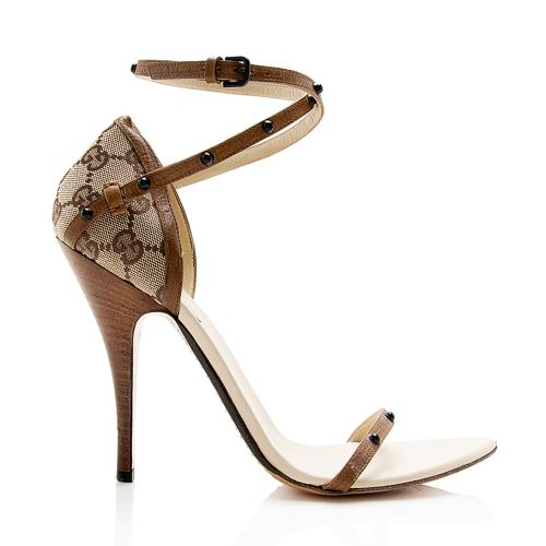 Gucci GG Canvas Studded Sandals - Size 9  / 39