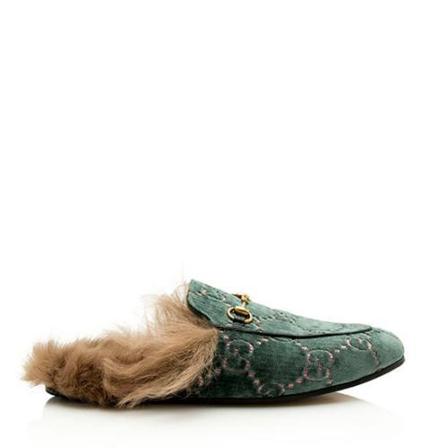 Gucci GG Velvet Fur Horsebit Princetown Slide Loafers - Size 10 / 40
