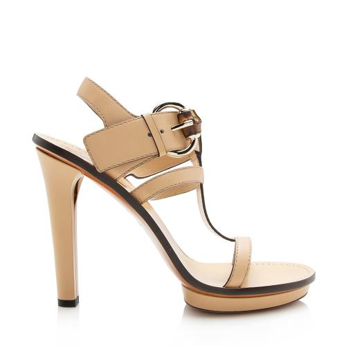 Gucci Leather Bamboo Gwen Buckle Sandals - Size 9.5 / 39.5