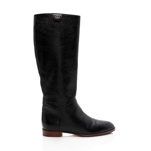Gucci Leather Double G Knee High Riding Boots - Size 8.5  / 38.5