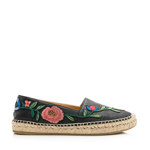 Gucci Leather Floral Embroidered Espadrilles - Size 8.5 / 38.5