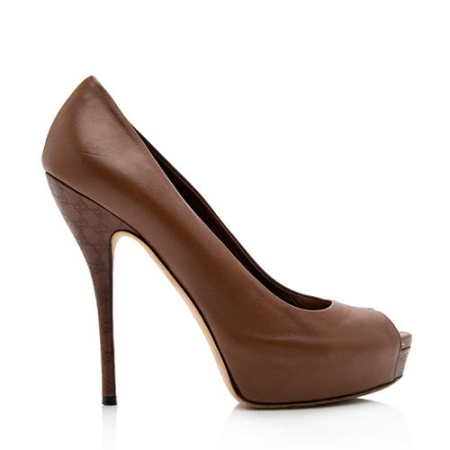 Gucci Leather Guccissima Heel Peep Toe Pumps - Size 7 / 37