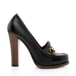 Gucci Leather Horsebit Alyssa Platform Pumps - Size 7 / 37