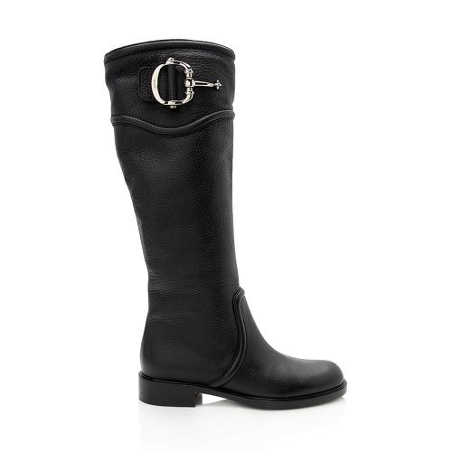 Gucci Leather Horsebit Tall Boots - Size 6 / 36