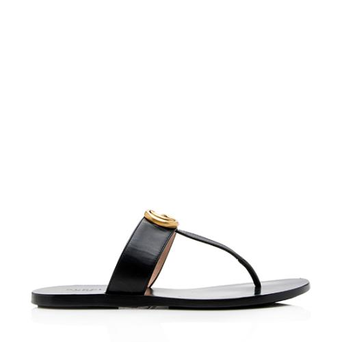 Gucci Leather Marmont T-Strap Sandals - Size 6 / 36
