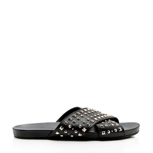 Gucci Leather Studded Slide Sandals - Size 7 / 37
