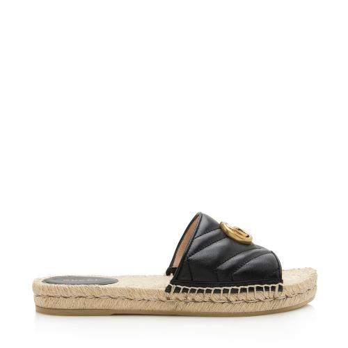 Gucci Matelasse Leather GG Marmont Espadrille Slide Sandals - Size 8.5 / 38.5