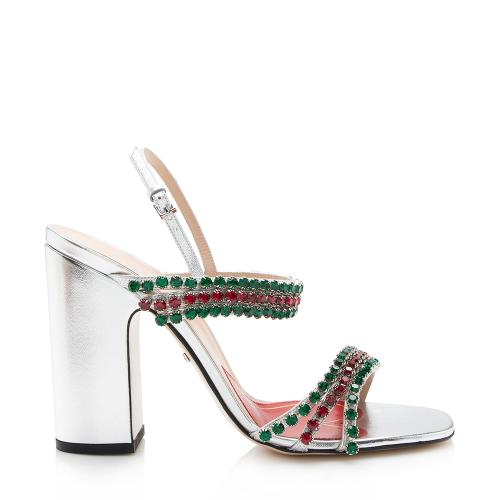 Gucci Metallic Leather Crystal Strap Sandals - Size 9.5 / 39.5